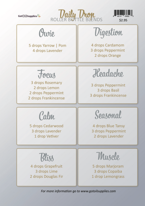 Daily Drop Collection Recipe Sheets   Essential Oil Roller Bottle Blends
