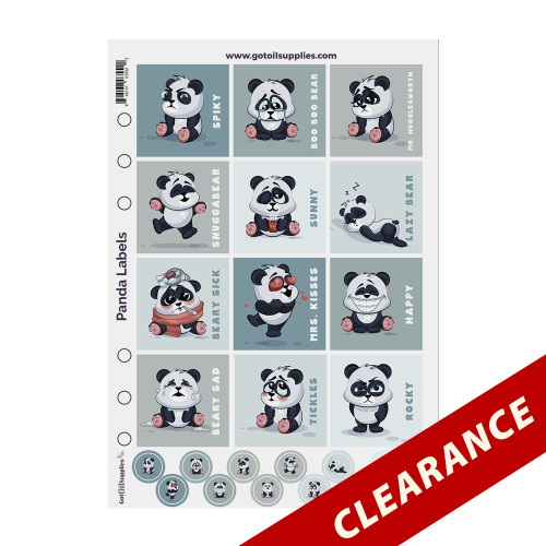 Panda Label Sheets | Essential Oil Proof Labels