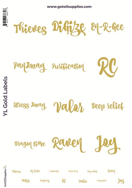 YL Top 12 Essential Oil Proprietary Blend Gold Foil Labels
