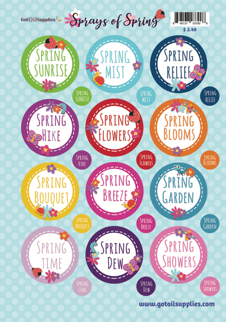Sprays of Spring Labels | Label Your Essential Oil Room Sprays