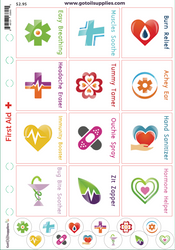 Essential Oil First Aid Kit Labels | Clear Background