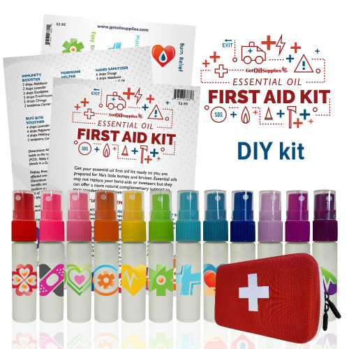 Essential Oil First Aid DIY Kit   With EO Hard Case