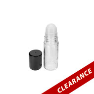 30ml Clear Glass Essential Oil Roller Bottles | Plastic Roll On Inserts & Black Lids