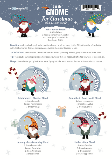 I'll Be Gnome For Christmas Recipe Sheets | Essential Oil Room & Linen Sprays
