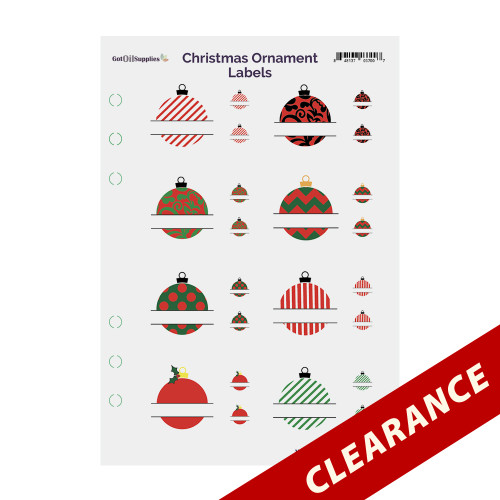 Christmas Ornaments Label Sheets for Essential Oil Holiday EO Blends