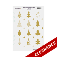 12 Gold Foil Christmas Trees On Clear Essential Oil Labels With Lid Stickers