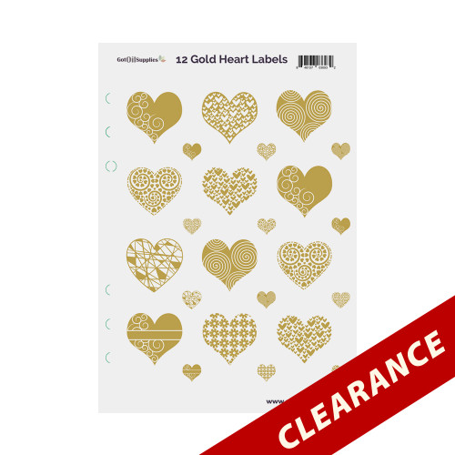 12 Gold Foil Hearts On Clear Essential Oil Labels With Lid Stickers