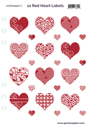 12 Red Foil Hearts On Clear Essential Oil Labels With Lid Stickers