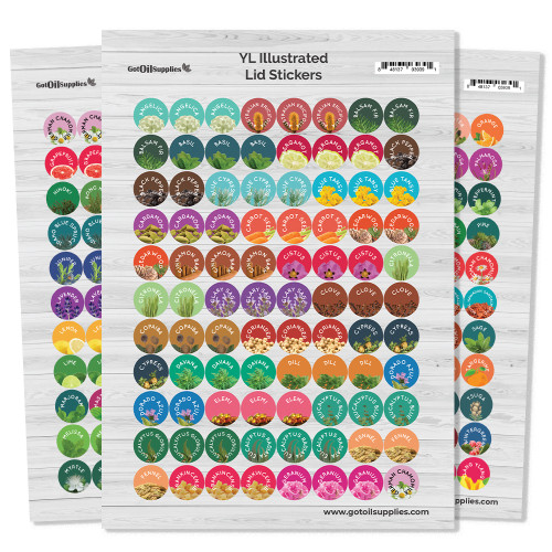 YL Illustrated Essential Oil Lid Stickers