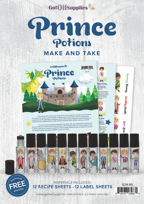 Prince Potions Make & Take Kit | 12 Essential Oil Labels & Recipe Sheets