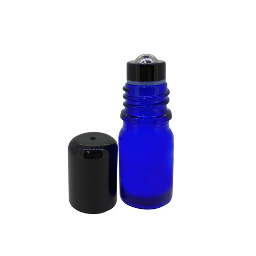 5ml Cobalt Blue Essential Oil Glass Bottles With Stainless Steel Metal Roller Ball Inserts