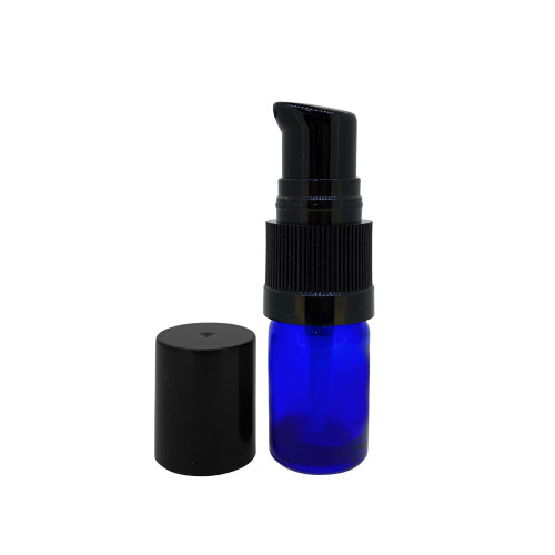 5ml Cobalt Blue Glass Essential Oil Bottles with Cream Pumps