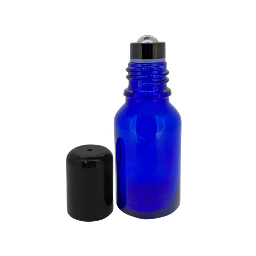 15ml Cobalt Blue Essential Oil Glass Bottles With Stainless Steel Metal Roller Ball Inserts