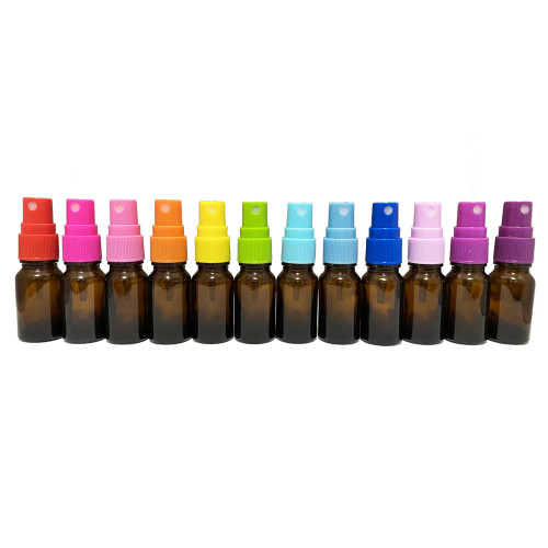 10ml Euro Style Glass Amber Essential Oil Bottles with Color Spray Caps