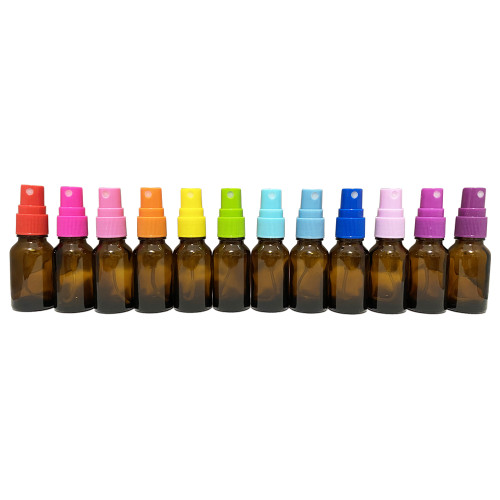 15ml Euro Style Glass Amber Essential Oil Bottles with Color Spray Caps