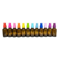 30ml Euro Style Glass Amber Essential Oil Bottles with Color Spray Caps