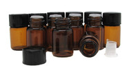 2ml Amber Essential Oil Bottles with Orifice Reducers and Black Caps
