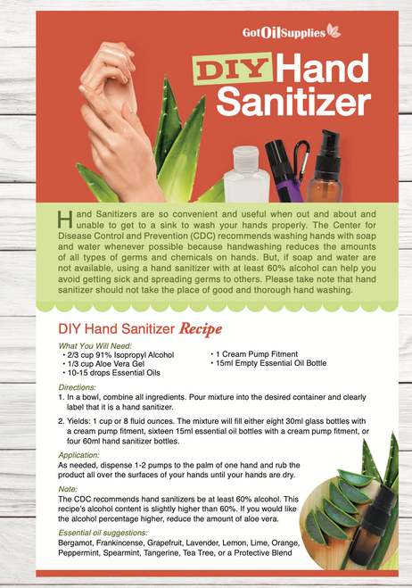 DIY Essential Oil Hand Sanitizer Resource Card
