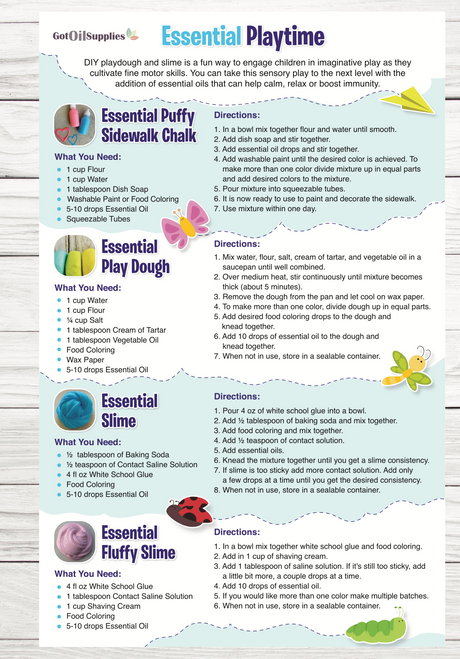 Essential Oil Playtime Resource Card   Homemade Slime, Play Dough, and Sidewalk Chalk