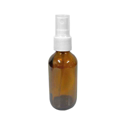 2oz Amber Boston Round Spray Bottle With White Fine Mist Sprayer For Essential Oils