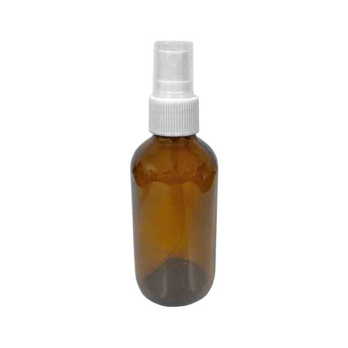 4oz Amber Glass Boston Round Bottle With White Fine Mist Sprayer For Essential Oils, Sanitizers, and Disinfectants