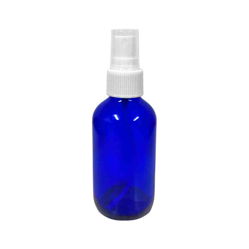 4oz Blue Glass Boston Round Bottle With White Fine Mist Sprayer For Essential Oils, Disinfectants, and Sanitizers