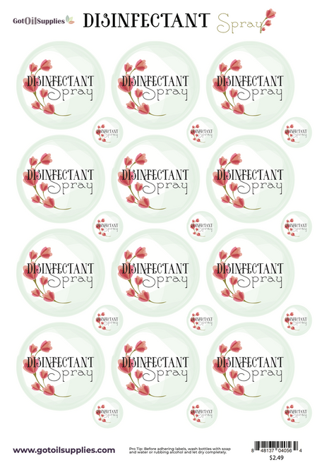 Disinfectant Spray Essential Oil Label Sheets