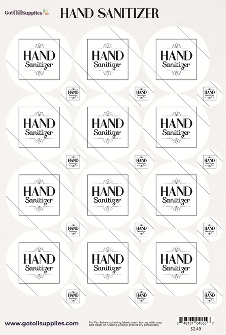 Hand Sanitizer Essential Oil Label Sheets
