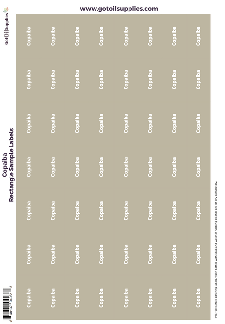Copaiba Rectangle Sample Preprinted Essential Oil Labels