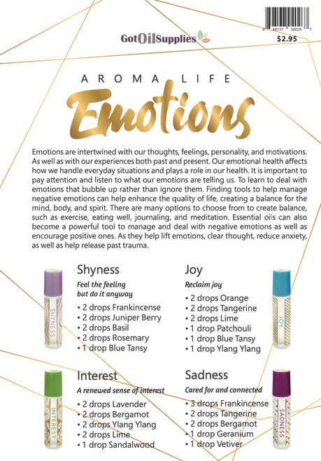 Aroma Life Emotions Essential Oil Recipe Sheets
