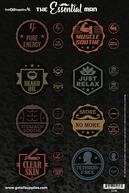 The Essential Man Labels | Essential Oil Label Sheets