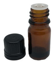 5 ml Boston Round Glass Amber Essential Oil Bottles with Orifice Reducers and Black Caps