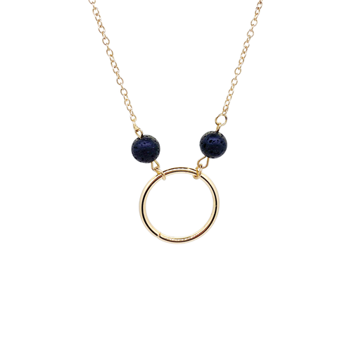 Gold Ring Lava Essential Oil Necklace with 2 Lava Stones and Gold Chain