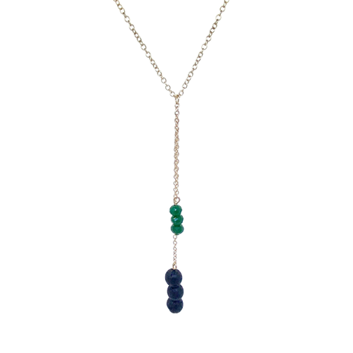 Gold Dangle Chain Necklace with 3 Lava Stones and 3 Green Charm Beads