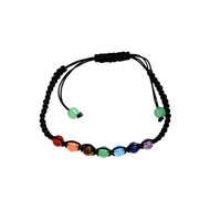 Adjustable Cord Bracelet with Chakra Color Beads