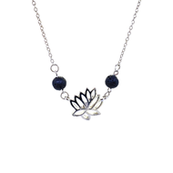 Silver Lotus Charm Lava Necklace with Lava Beads & Silver Chain for Essential Oils