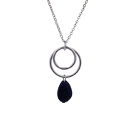 Silver Dual Circle Pendant Necklace with Lava Drop Bead & Silver Chain