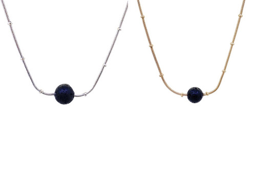 Silver or Gold Ball Chain and Lava Stone Necklace for Essential Oil Aromatherapy