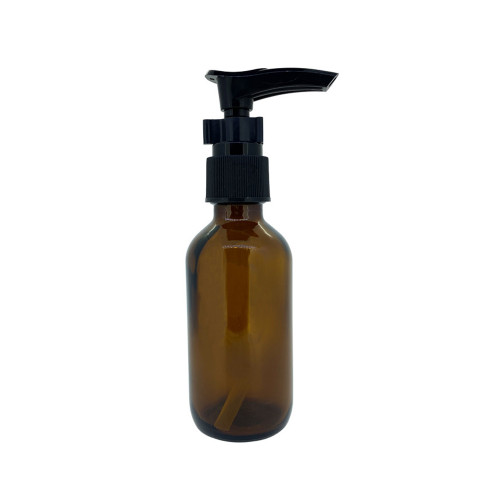 2oz. Glass Lotion Pump Essential Oil Bottles | 60ml Amber Containers
