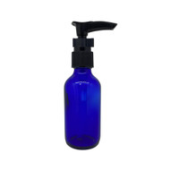 2oz. Glass Lotion Pump Essential Oil Bottles | 60ml Blue Containers