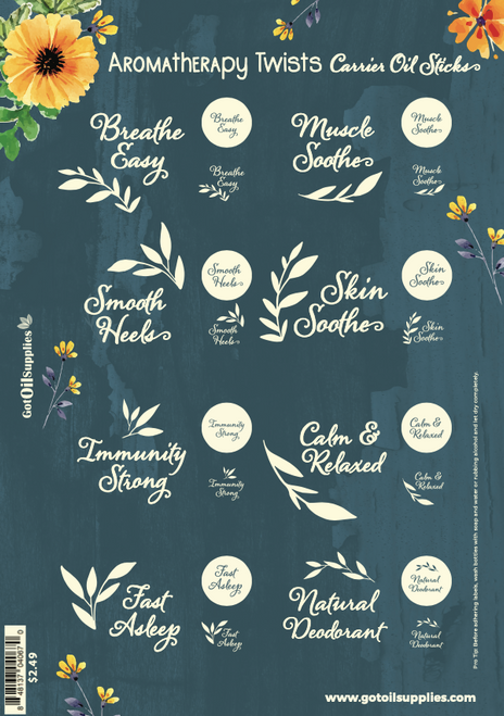 Aromatherapy Twist Carrier Oil Sticks Collection Label Sheet