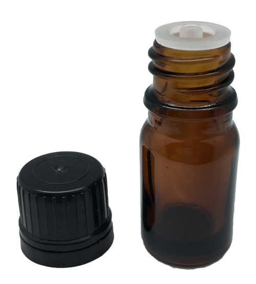 10 ml Boston Round Glass Amber Essential Oil Containers with Orifice Reducers and Black Lids