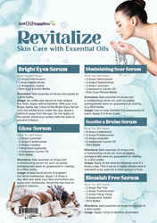 Revitalize Essential Oil Recipe Sheets For Skin Care