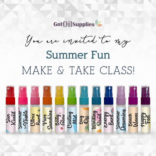 FREE Downloadable Summer Fun Collection Essential Oil Blend Sprays eInvite For Social Media and Email Campaigns