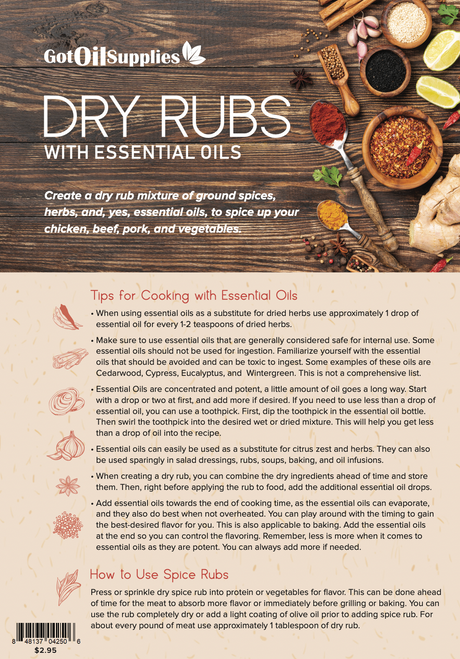 Dry Rubs with Essential Oils Recipe Sheets