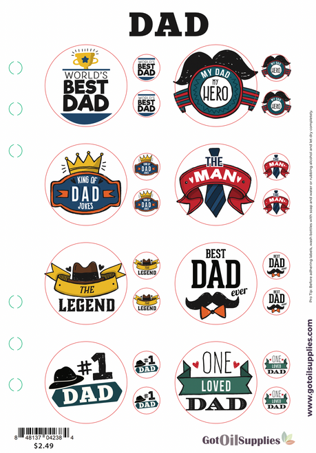 Dad Label Sheet   Labels for your Father