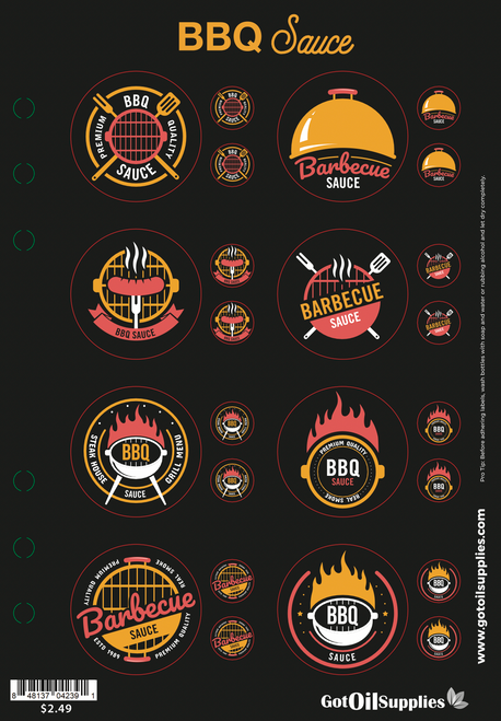 BBQ Sauce Label Sheets