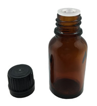 15 ml Boston Round Glass Amber Essential Oil Bottles with Orifice Reducers and Black Caps