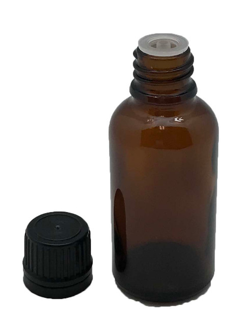 30 ml Boston Round Glass Amber Essential Oil Bottles with Orifice Reducers and Black Caps