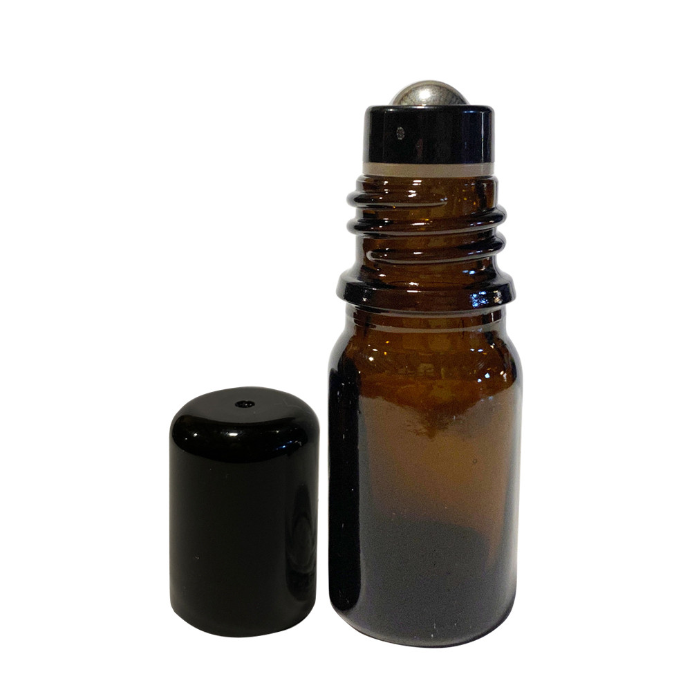 1ml Amber Mini Glass Roll-on Bottle With Stainless Steel Ball /& Black Caps 144